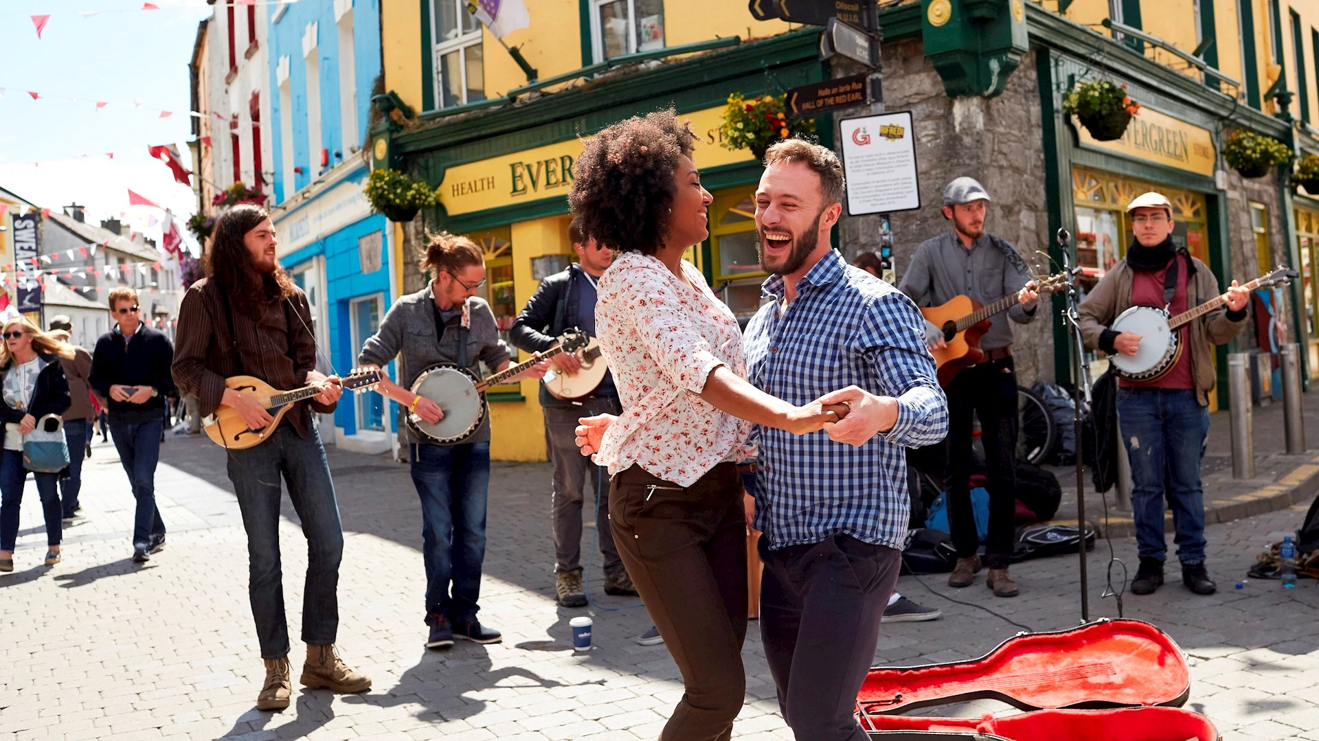 Couple dancing in streets of Galway